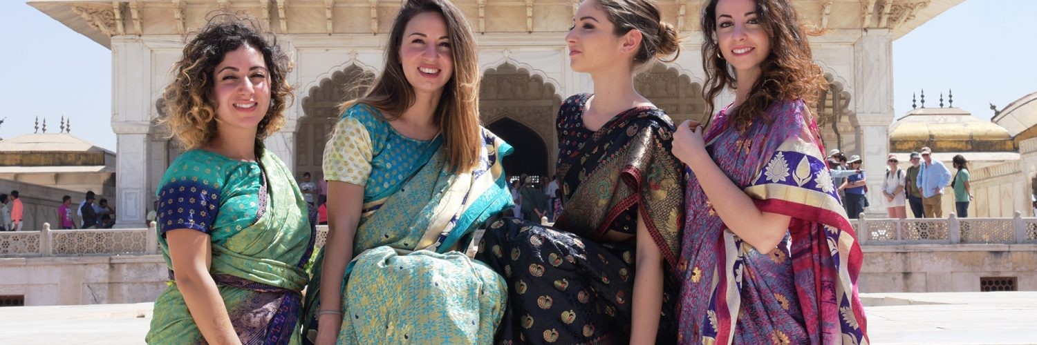 foreigner wearing Banarasi Saree