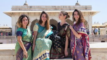foreigner wearing Banarasi Saree